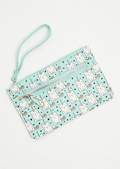 Mint Star Cat Unicorn Wristlet