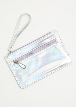 0e3bad61f99 Iridescent Silver Zip Wristlet