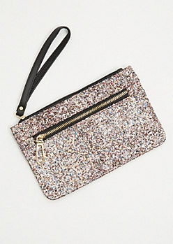 Multi Glittered Gold Zip Wristlet