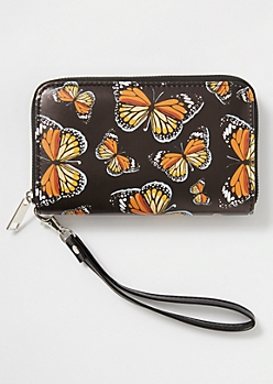 Black Butterfly Print Wristlet