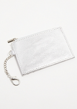 Silver Metallic Card Holder Coin Purse
