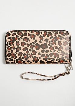 Leopard Print Faux Leather Wristlet