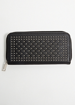 Black Micro Stud Faux Leather Wallet