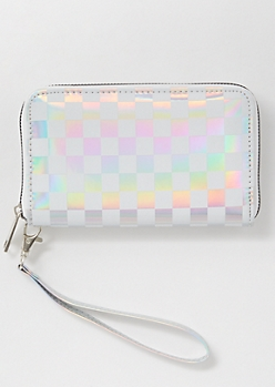 Metallic Checkered Print Wristlet