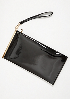 Black Glossy Gold Slide Wristlet Clutch