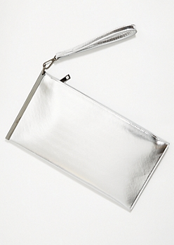 Silver Metallic Slide Wristlet Clutch
