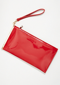 Red Glossy Gold Slide Wristlet Clutch