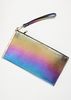 Blue Iridescent Gold Slide Wristlet Clutch