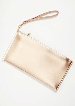Rose Gold Metallic Slide Wristlet Clutch
