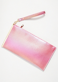 Pink Iridescent Gold Slide Wristlet Clutch