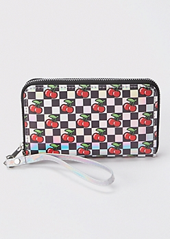 Holographic Checkered Cherries Wallet