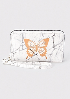Marbled Butterfly Print Wallet