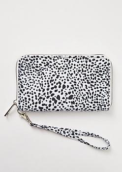 White Leopard Print Nylon Wristlet