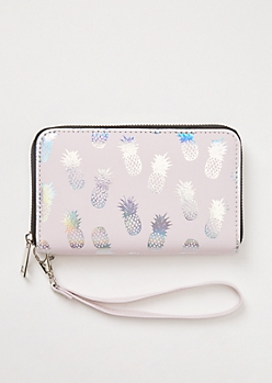 Metallic Pineapple Print Wristlet