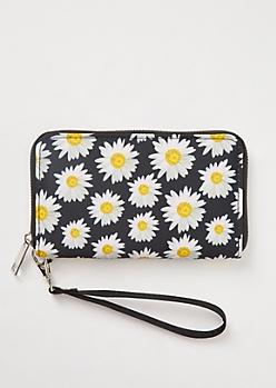 Black Sunflower Print Nylon Wristlet