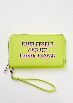 Neon Green Kind People Nylon Wristlet