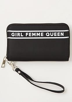 Black Striped Queen Print Wallet