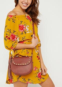 Cognac Studded Handbag