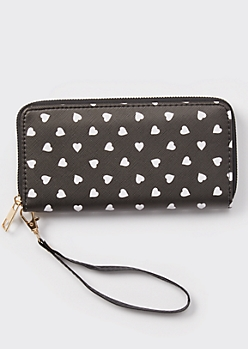 Black Micro Heart Print Wallet