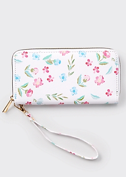 White Wildflower Print Wallet