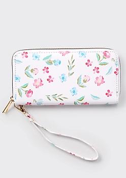 White Wildflower Print Wallet