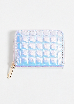 Iridescent Pink Quilted Square Wallet