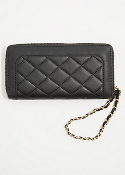 Black Quilted Chain Wristlet
