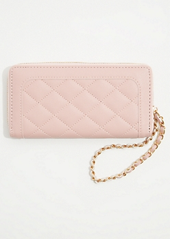 Light Pink Quilted Chain Wristlet