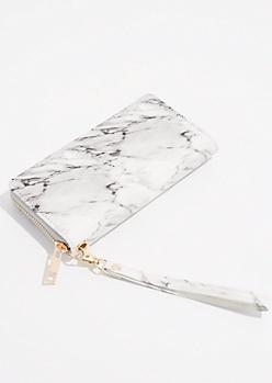 White Marbled Wristlet Wallet