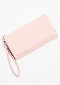 Light Pink Fold Front Wristlet