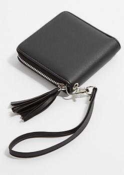 Black Square Tassel Wristlet