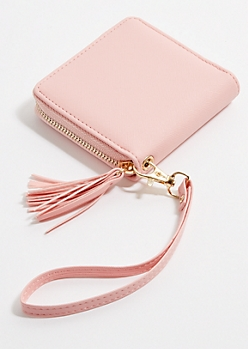 Light Pink Square Tassel Wristlet