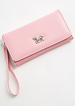 Light Pink Unicorn Charm Wristlet