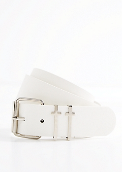 White Double Cross Buckled Belt