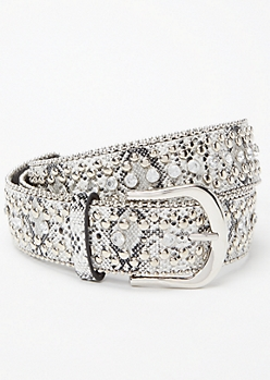 Snakeskin Print Studded Gem Belt