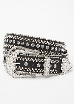 Black Studded Rhinestone Western Belt