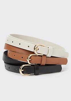 3-Pack Neutral Skinny Belts