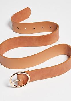 Cognac Faux Leather Gold Hoop Belt