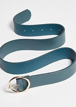 Green Faux Leather Gold Hoop Belt