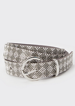Silver Rhinestone Diamond Belt
