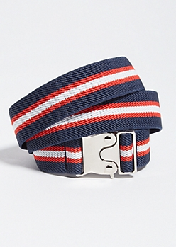 Navy and Red Striped Waist Cinch Belt