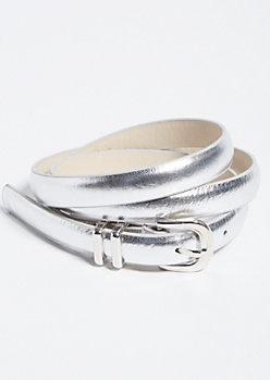 Silver Metallic Skinny Belt