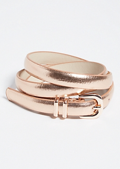 Rose Gold Metallic Skinny Belt