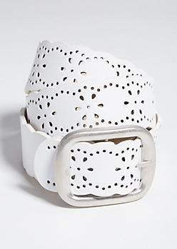 White Floral Perforated Faux Leather Belt