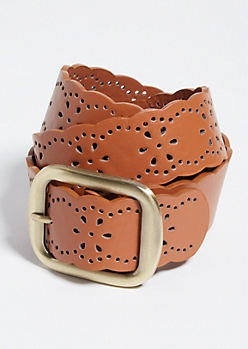 Cognac Brown Floral Perforated Faux Leather Belt