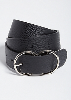 Black Faux Leather Double Hoop Belt