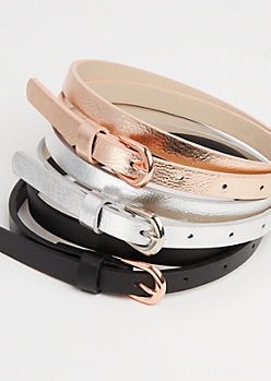 3-Pack Metallic Skinny Belt