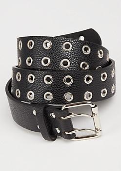 Black Double Grommet Belt
