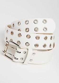 White Double Grommet Belt