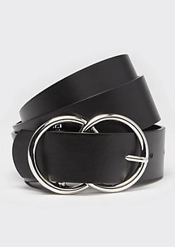Black Double Ring Silver Buckle Belt